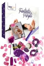 Coffret coquin Fantastic Purple : Coffret spécial pour le couple, 10 articles, sextoys et accessoires intimes violets.
