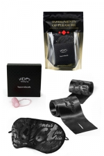 Kit Instruments de Plaisir - Rouge : Pack de 4 articles érotiques : anneau vibrant, liens et masque en satin, gel intime.