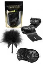 Kit Instruments de Plaisir - Vert : Pack de 4 articles charnels : plumeau, liens et masque en satin, gel intime.