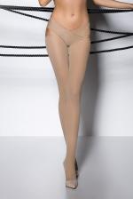 Collants ouverts TI005 - beige : Collants en voile beige opaque 60 deniers, fendu entre les jambes.