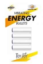 Recharges sextoys Vibrating Energy Bullets : 4 moteurs vibrants de rechange pour les sextoys Toy Joy compatibles.