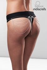 Tour de taille en chainettes métalliques argentées : Bijou érotique pour les hanches et les fesses, collection Magnifique, facilement réglable.