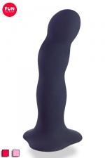 Dildo à boules rotatives Bouncer : Godemichet à boules internes oscillantes, base ventouse, compatible harnais, silicone.