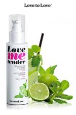 Huile de massage mojito 100ml : Huile de massage comestible goût mojito fabriquée en France par Love to Love.