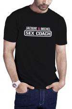 T-shirt Sex Coach noir - Jacquie et Michel - Profitez du T-shirt Sex Coaching J&M pour offrir une formation gratuite et 100% naturelle à vos partenaires potentielles.