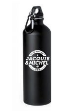 Gourde Jacquie et Michel : Gourde noire en aluminium avec logo Jacquie & Michel blanc imprimé sur le côté.