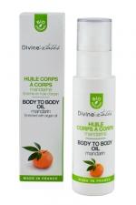 Huile de massage bio Corps à Corps : Huile bio de massage intime, huile d'argan, parfum fleur de mandarine, fabriquée en France.