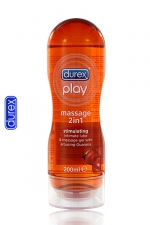 Durex Play Massage 2 en 1 Stimulating (200 ml) : Gel de massage, lubrifiant intime, enrichi à l'extrait de Guarana.