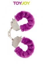 Menottes en fourrure rose, violette ou noire Fun Cuffs : Menottes en métal accompagnées d'une fourrure colorée au choix pour le fun.