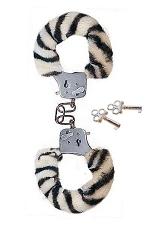 Menottes en fourrure zébre Fun Cuffs : Menottes en métal accompagnées d'une fourrure zèbre pour le fun.
