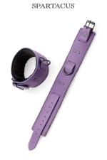 Bracelets chevilles en cuir violet Crave Line : Haut de gamme pour cette paire de menottes en cuir violet pour les chevilles.