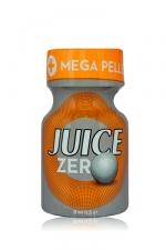 Poppers Juice zero 10 ml : Poppers hybride pour des sensations max et confort accru avec fermeture  Mega Pellet, en petit flacon de 10 ml.