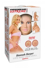 Poupée gonflable Hannah Harper : Poupée sexuelle calquée sur la silhouette de l'actrice US, 2 orifices, haut de gamme.